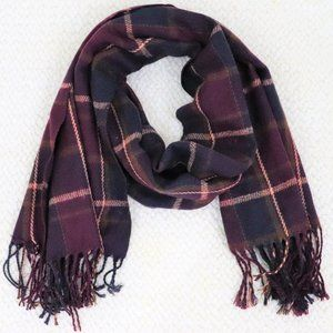 Plaid Marron Scarf with Fringe